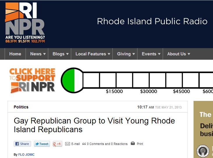 Rhode Island Public Radio: Gay Republican Group to Visit Young Rhode Island Republicans